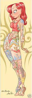 Tattoo Girl Original Drawing by CHRIS SANDERS